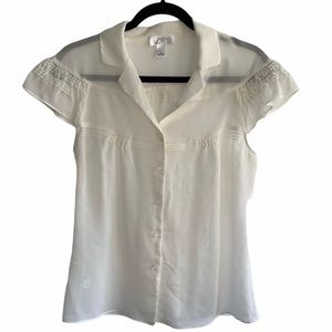 Ann Taylor LOFT Off White Size 10 Short sleeve